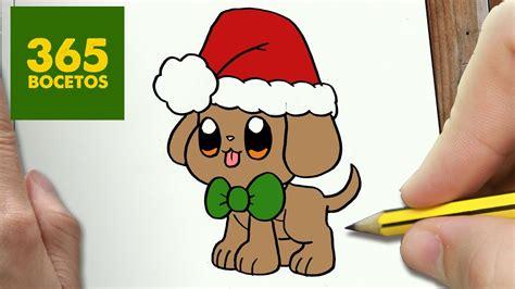 como dibujar un perrito para navidad paso a paso dibujos