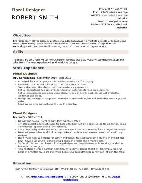 Floral Designer Resume by Floral Designer Resume Sles Qwikresume