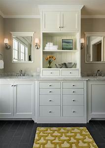 Marble looking granite bathroom traditional with built in for Built in bathroom storage vanities