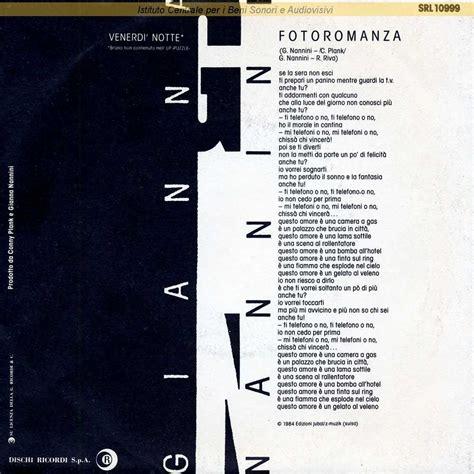 testo fotoromanza discografia nazionale della canzone italiana