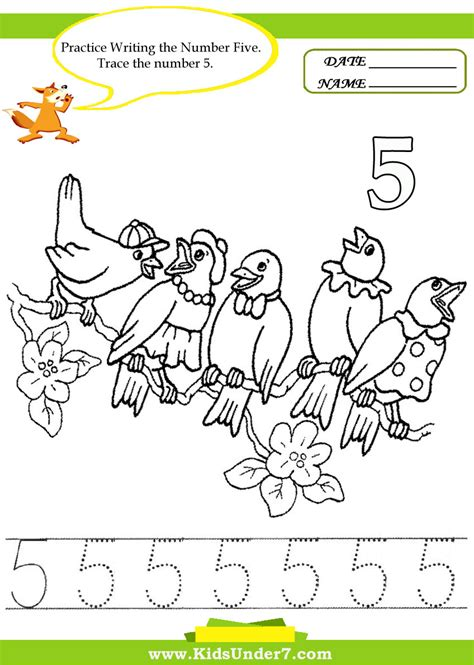 free number 5 trace coloring pages