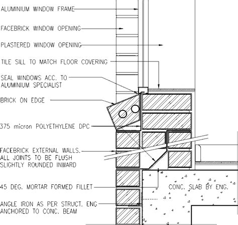 Window Sill Section by Window Sill Detail Cavity Wall Detail Drawings