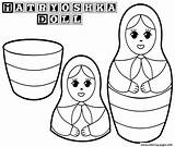 Coloring Russian Dolls Doll Printable Toys Template Nesting Matryoshka sketch template