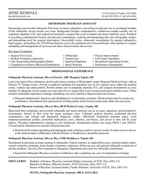 Physician Assistant Resume Templates by Cv Exles Our 1 Top For Orthopedic Physician