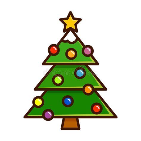 albero clipart albero di natale con gli ornamenti nell arte semplice di