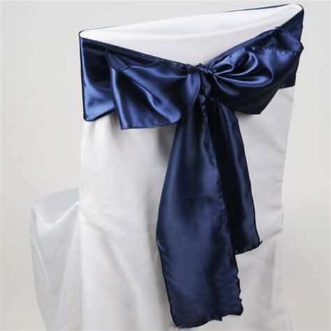 navy blue satin chair sashes pack of 10