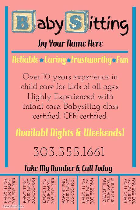 create amazing flyers   babysitting business