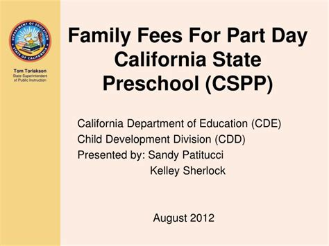 california state preschool ppt family fees for part day california state preschool 892
