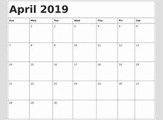 Printable April 2019 Calendar Template Word Document