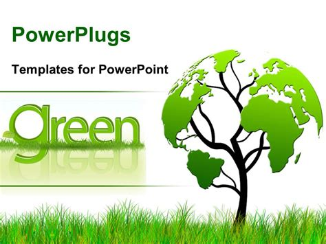 powerpoint template tree  foliage world map