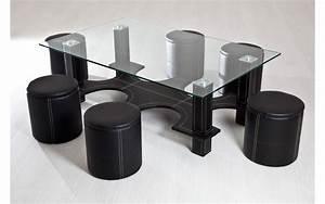 Table Basse Noir : table basse 6 poufs noir top d co ~ Teatrodelosmanantiales.com Idées de Décoration