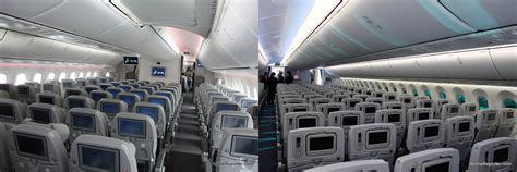 boeing 787 cabin boeing 787 dreamliner comparison jal vs
