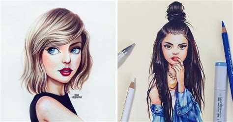 Russian Artist Continues Drawing Celebrities As Adorable