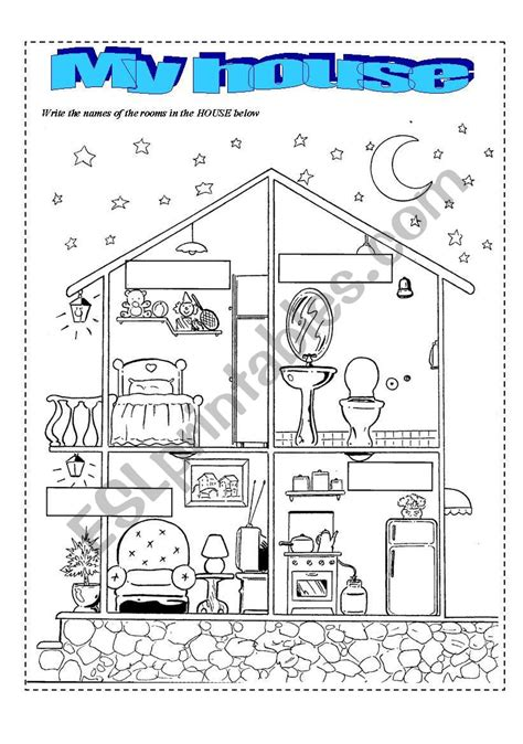Parts Of The House  Esl Worksheet By Marciotga2