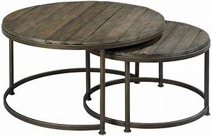 Round nesting cocktail table by hammary wolf and for Round coffee table nest