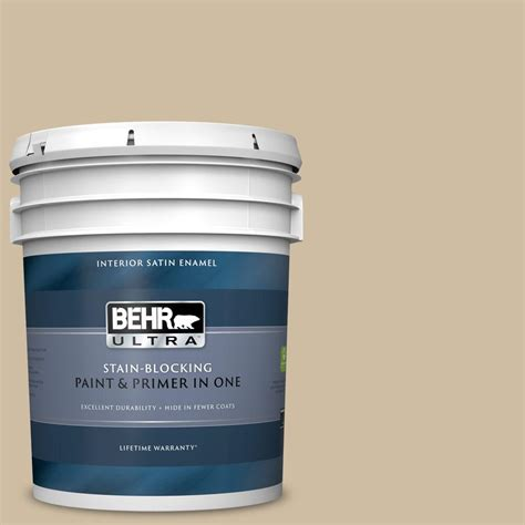 behr ultra 5 gal ppu8 10 rye bread satin enamel interior paint and primer in one 775405 the