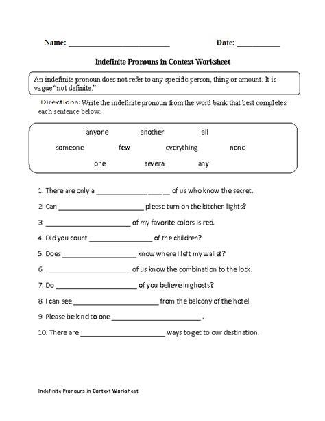 pronouns worksheets indefinite pronouns worksheets