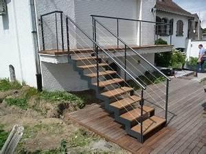 escalier bois occasion escalier bois quart tournant droit With escalier exterieur metal leroy merlin 0 escalier colimacon rond ring structure metal marche bois