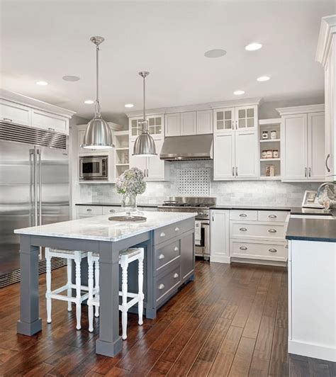 grey and white cabinets white marble kitchen with grey island house home