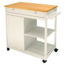 Whtie Kitchen Island Microwave Prep Table Rolling Cart on