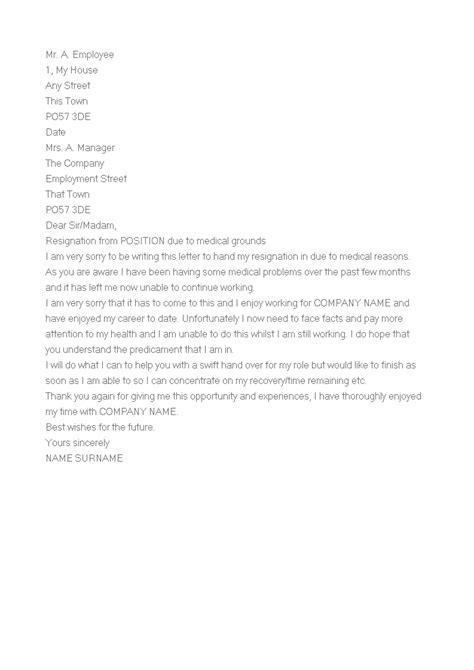 Medical Reason Resignation Letter   Templates at allbusinesstemplates.com