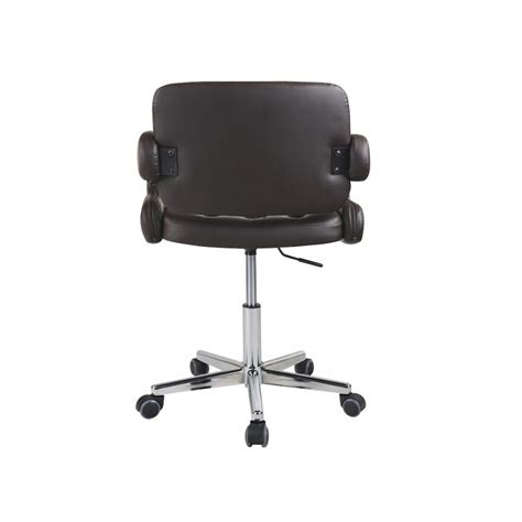 brown faux leather swivel office chair