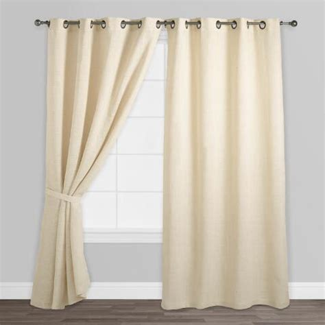 ivory hemp burlap grommet top curtains set of 2 world