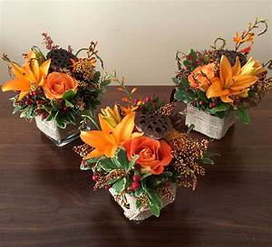 A, Cute, Trio, Of, Petit, Floral, Centerpieces, For, A, Thanksgiving, Table