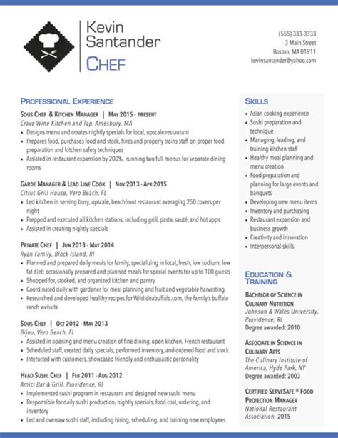 Resume Sle For Chef by Modern Resume For Chef Graphic Design Chef Resume