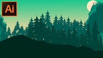 Illustrator Forest Background Adobe Illustration Cc Tutorial