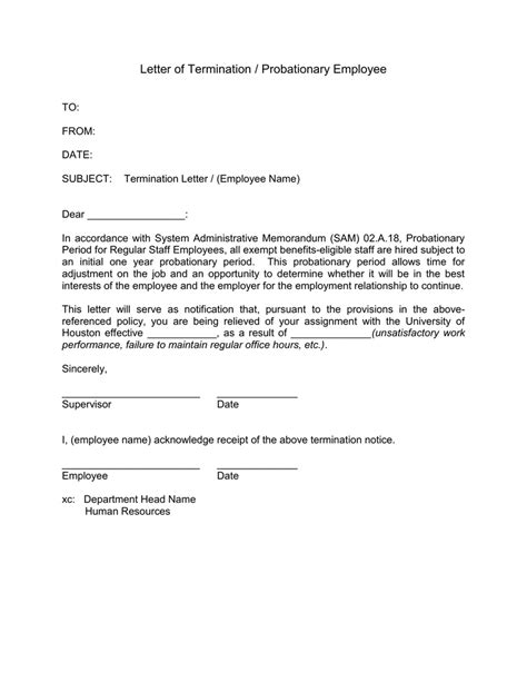 letter  termination probationary employee