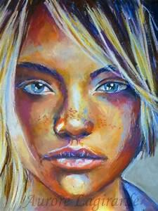 Peinture Visage Femme : sourires lointains intense peinture portrait de voyage portrait peinture portrait abstrait ~ Melissatoandfro.com Idées de Décoration