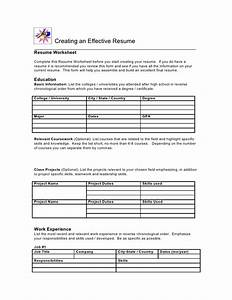 resume worksheet With free resume sheet