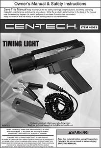 Harbor Freight Xenon Advance Timing Light Product Manual