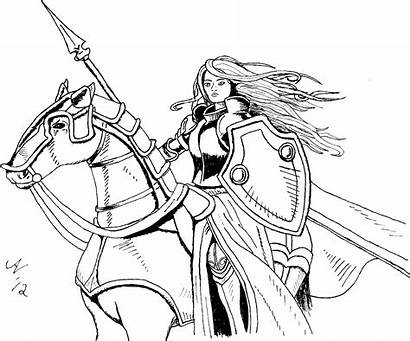 Coloring Warrior Woman Medieval Archer Manga Knight