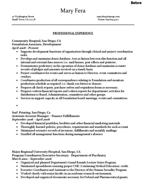 resume organized by function sle administrative assistant resume free