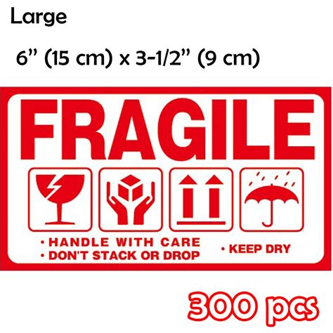 shipping box warning stickers label large fragile handle