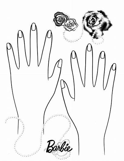 Coloring Nails Nail Pages Barbie Hand Template