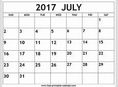 July 2017 calendar Freeprintablecalendarcom