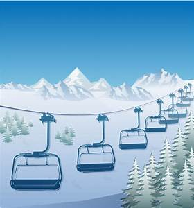 Ski Lift In The Snow Capped Mountains