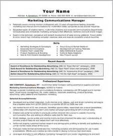 advertising and marketing communications resume marketing communications resume sle