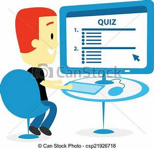 Vector Clip Art of Man Taking A Quiz on Computer Screen ...