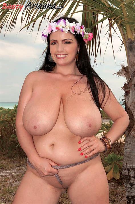Busty Hula Girl Arianna Gets Naked On The Tropical Beach
