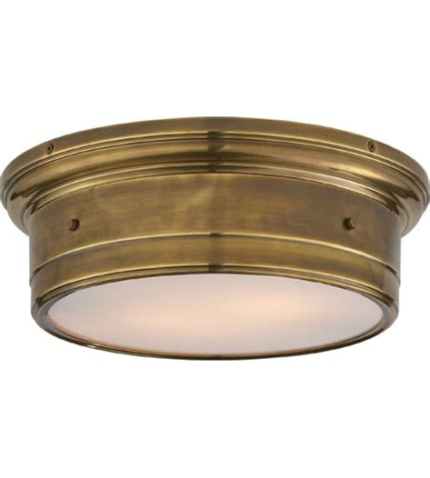antique brass flush mount ceiling light visual comfort ss4016hab wg studio siena 2 light 14 inch