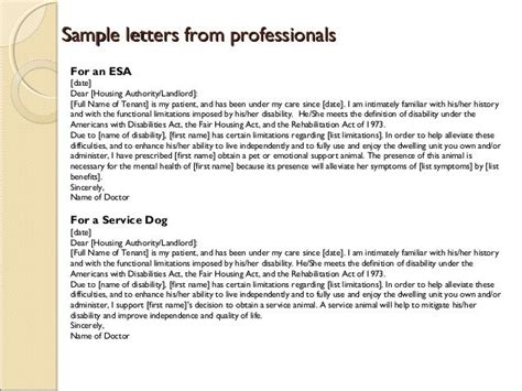 emotional support animal letter template esa