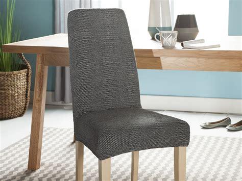 housse de chaise elastique housse de chaise unie extensible effet nid d 39 abeille hugo gris