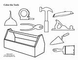 Coloring Tool Pages Box Tools Clipart Colouring Toolbox Construction Template Collection Pdf Print Kit Carpenter Preschool Belt Gears Printing Worksheets sketch template