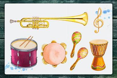 Instruments Watercolor Musical Illustrations Thehungryjpeg Cart