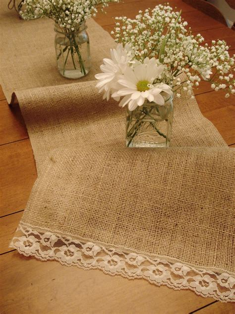 burlap table runner with lace burlap vintage lace table runner 60 quot