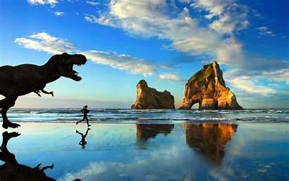 Windows Beach Rex Microsoft Tyrannosaurus Jogging Dinosaurs